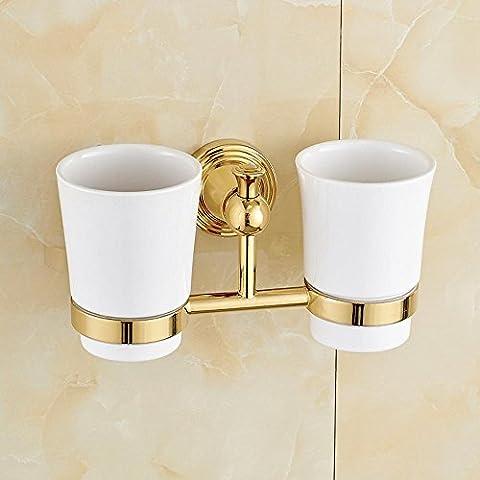 XXTT-Portavasos doble cobre oro continental, par taza parrillas, baño cepillo de dientes de vidrio, cerámica y
