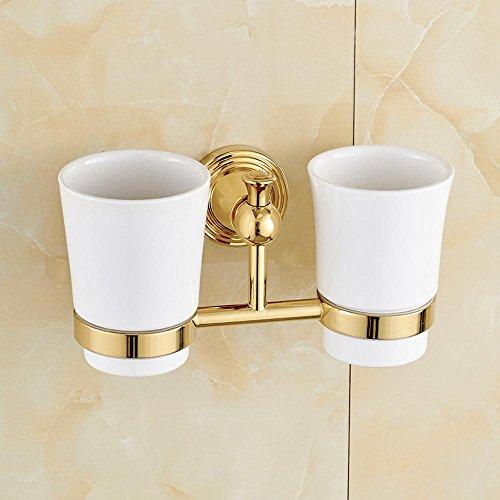 KHKSX Portabicchieri doppi rame oro continentale, coppia tazza rack, bagno spazzolino vetro, ceramica e