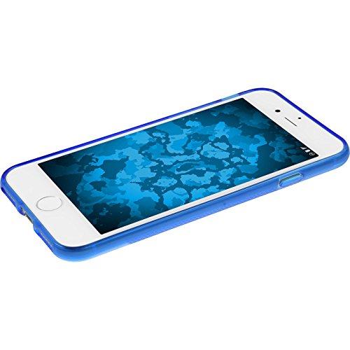 PhoneNatic Case für Apple iPhone 7 Plus Hülle Silikon lila X-Style Cover iPhone 7 Plus Tasche + 2 Schutzfolien Blau