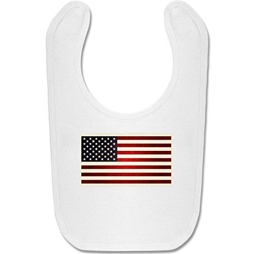 Städte & Länder Baby - Flagge USA - Unisize - Weiß - BZ12 - Baby Lätzchen Baumwolle