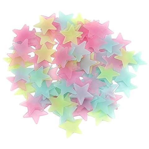 Alxcio Lot de 100 Autocollants Fluorescents 3D Sticker en Plastique pour Enfants Chambre Plafond Nuit étoilée bébé DIY Motifs Décoratifs Couleurs
