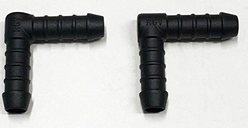2x 10mm Kunststoff Winkelverbinder Anschlussstück, Rohr, Schlauch Tischler Tubing Air Kraftstoff Wasser