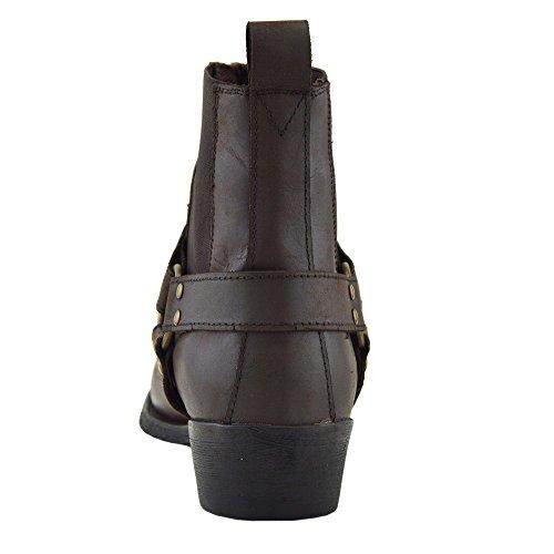 Kick Footwear - Herren Cowboy Ankle Boots Aus Leder Biker-Boots Aus Leder Toe Brown - 2 RtV1ltw