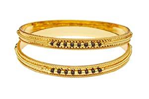 Jewbang Gold Plated Black Bead Bangles For Women-JBJB011