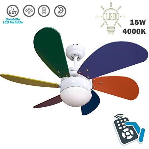 FABRILAMP Ventilador de Techo con luz y Mando a Distancia Serie Delfín Multicolor