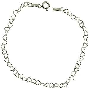 The Olivia Collection Sterling Silver Fine Heart Link Bracelet