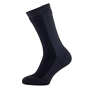 sealskinz waterproof men's hiking mid length socks, black/anthracite