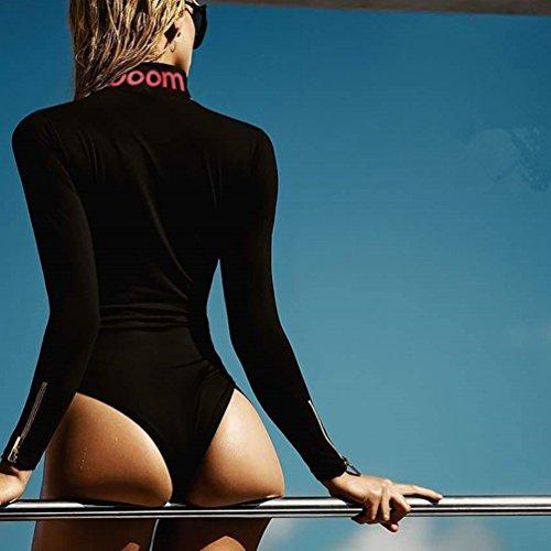 YiLianDa Donna Manica Lunga Dolcevita Body Elasticizzato Donna Sexy Body Top Shirt Nero