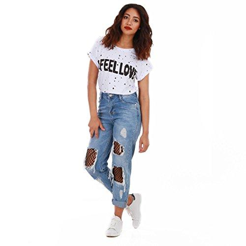 La Modeuse - Jeans destroy taille haute avec collants résille à maille large noir intégrés Bleu