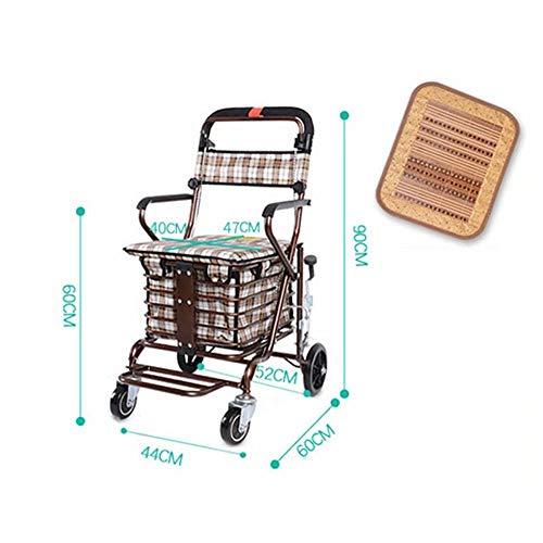 AA-SS-Shopping Trolley Älterer tragbarer Einkaufswagen-Faltbarer Wanderer mit Bremsen, 360 Grad-drehbaren Rädern und Wasserdichten Einkaufstaschen der großen Kapazität