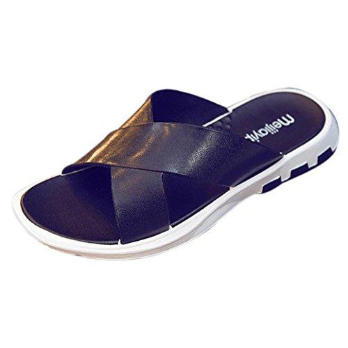 Sandali estivi eleganti da uomo,sonnena sandali infradito estivi antiscivolo scarpe da spiaggia da uomo moda spiaggia pantofola ciabatte infradito uomini scarpe casual estate (eu 44, nero)