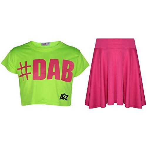 A2Z 4 Kids® Kinder Mädchen Comic Graffiti Scribble Leopard - #Dab Neon Green Crop & Skirt Set 5-6 Neon Green Leopard