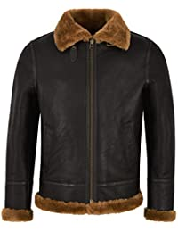 Smart Range Giacca Bomber in Pelle di Montone Shearling Marrone Zenzero B3  Uomo Bomber Flying RAF 12391cd0940