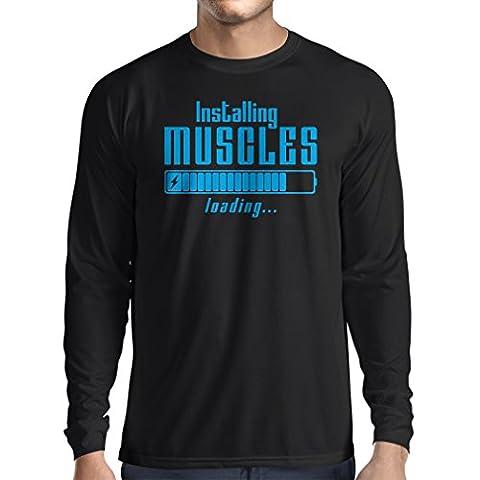T-Shirt Manches Longues Homme Vêtements musculaires - pour musculaires, design vintage, vêtements de fitness (Medium Noir Bleu)