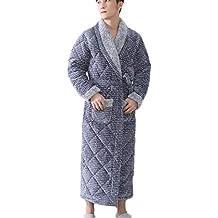 DAFREW Batas de Hombre, Albornoces de Franela de Invierno, Albornoces cálidos, Vestido de