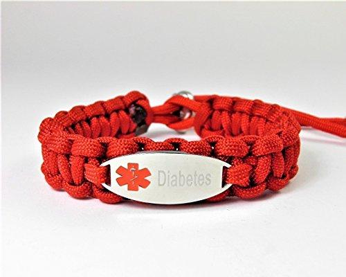 HanseCharms-Medizinisches Notfall Armband-Lasergraviert-Edelstahl Charm-Verstellbar-Paracord Typ III-Notfallarmband-Rotes Logo=Histamin-Asthma-Marcumar-Diabetes-Diabetes Typ I-Diabetes Typ II-Allergiker-Epilepsie
