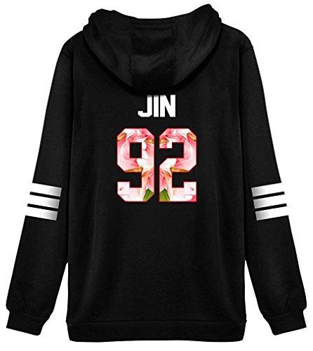 ShallGood Mujer Otoño Moda BTS Bangtan Fans Sudaderas con Capucha Manga Larga Suéter Capa Hoodies Pullover Outwear Encapuchado Tops JIN-92 Pink ES 40