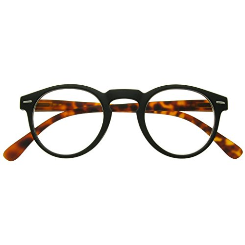 GL2193 Oxford Matt Black & Tortoiseshell Round Geek Style Unisex Lesebrille + 1,0 + 1,5 + 2.0 +2.5 (Brille Chic Geek)