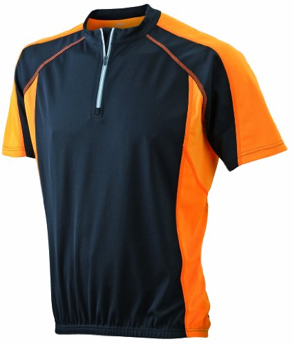 James & Nicholson Herren Kurzarm Bike T-shirt schwarz (black/orange) Large