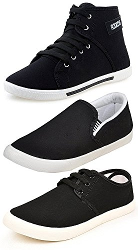 Ethics Men's Perfect Combo Pack of 3 Black Casual Loafer Shoes-For Black...