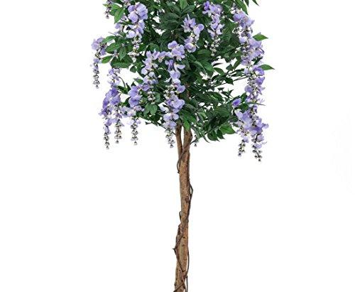 Goldregenbaum Kunstbaum, 1176 violette Blüten, 1680 textile Blätter, mit Zementtopf, Höhe 210cm, – künstliche Bäume Blütenbäume
