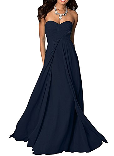 Azbro Women's Elegant Bandeau Ruffled Prom Dress purple