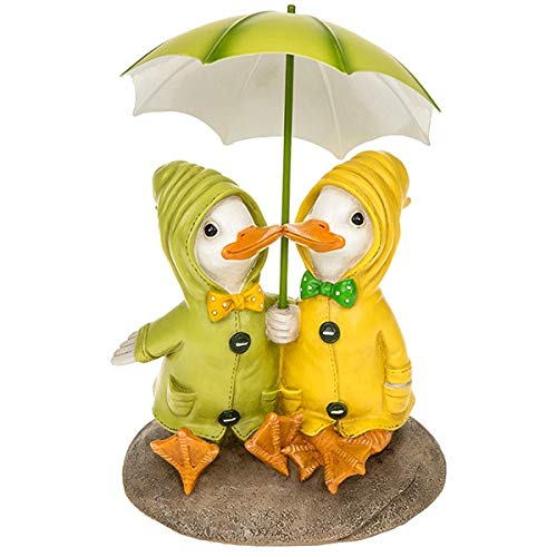 Shudehill Dilly and Dally Puddle Ducks - Figura decorativa para jardín, diseño de pato sentado con paraguas