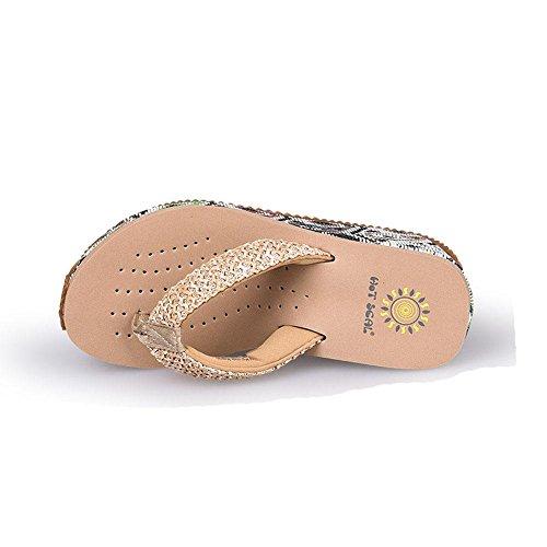 WANGXN Womens Beach Slippers Anti-Skid Confortable Flip Flops Sandales à hauts talons respirant 5078 beige