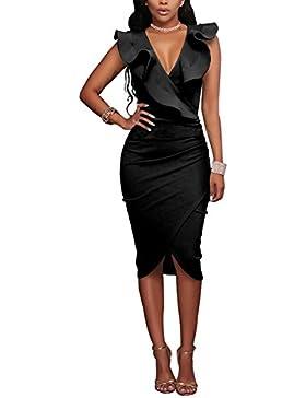AHOOME Donna Vestito Elegante Partito Tubino Vestito Formale Vestito Da Cocktail Vintage Donna Vestiti Ginocchio-lunghezza...