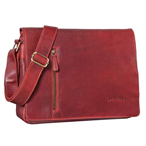 STILORD 'Till' Leder Umhängetasche 13 Zoll große Vintage Schultertasche für Herren Damen Laptoptasche DIN A4 Unitasche Bürotasche aus echtem Leder, Farbe:Rosso