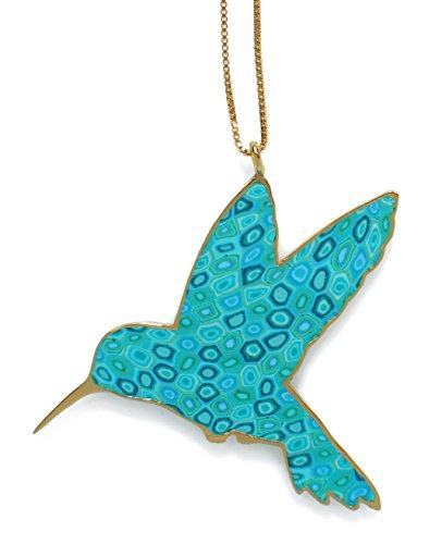 Collier Colibri d'Or - Pendentif oiseau de designer fait main - Bijoux vintage - Cadeau original Turquoise