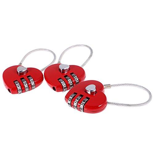 MagiDeal Set de 3 Unidades Candado Cerradura Bloqueo Forma de Corazón de Seguridad...