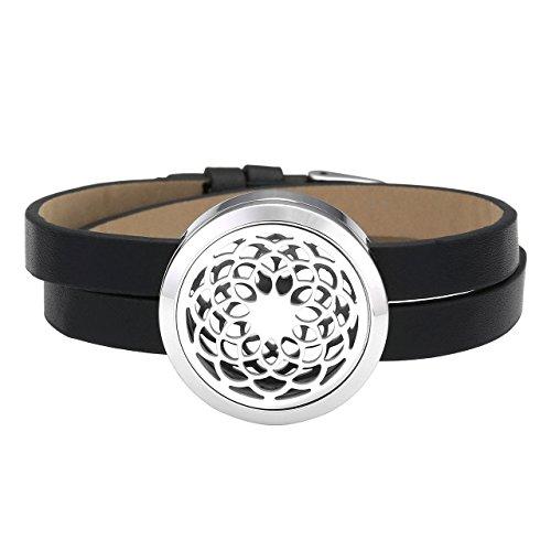 Zysta Bracelet Cuir Sahasrara Aromatique Diffuseur de Parfum Huile Essentielle Lien Poignet Chaîne de Main