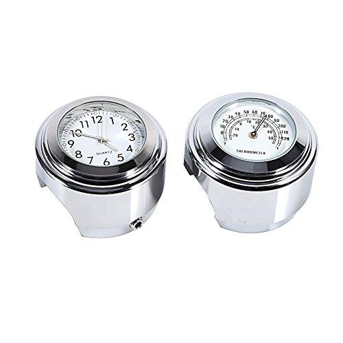 """Qiilu 7/8"""" 1"""" Motorrad Lenkerhalterung Uhr Zifferblatt Uhr 0026 Thermometer Temp Weiß"""