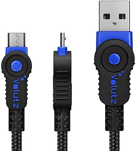 Volutz Cable Micro USB 3 Metros - Cable Cargador Equilibrium Super Resistente en Nylon Trenzado de Carga Rapida y Conector de Sincronización para Samsung, Nexus, Kindle, HTC, LG, PS4. - Azul - 3m