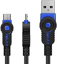 Volutz Cable Micro USB (3M Extra Largo) Cable de Carga para Mando PS4, Trenzado, Resistente y rápido, para Sam