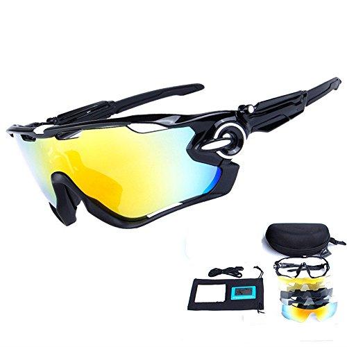Locisne Outdoor Sport Occhiali da sole - Occhiali da sole di guida Sport UV400 protezione solare luce polarizzata Occhiali da sci in bicicletta Eyewear con 5 lenti intercambiabili + 1 Custodia morbida per Running Escursionismo Guida Pesca Sci viaggio (nero-w)