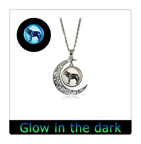 Glowing Lone Wolf Halskette Glow in the Dark Full Moon Halskette Gunmetal Glowing Halskette, Wolf, Glowing Jewelry