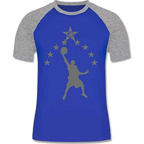 Basketball - Basketball - zweifarbiges Baseballshirt für Männer Royalblau/Grau  meliert