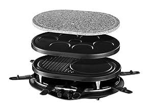 Russell Hobbs Appareil Raclette Multifonctions Quatuor 1200W 8 Personnes, Pierre à Griller, Plaque Grill, Plaques Crêpes, Compatibles Lave-Vaisselles - 21000-56