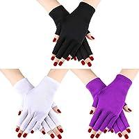 3 Pares UV Shield Glove Gel Manicures Glove Anti UV Guantes sin Dedos Protegen Las Manos de la lámpara de luz UV Secador de manicura (Conjunto de Color 2)