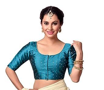 Studio Shringaar Women's Polyester Stitched Saree Blouse (Rama Green, 34)
