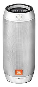 JBL Pulse 2 Spritzwasserfester Tragbarer Bluetooth Lautsprecher mit Interaktiver Lightshow und Freisprecheinrichtung - Silber