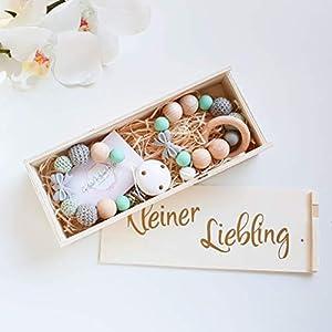 Geschenkset - Schnullerkette und Beißring in Mint und Grau mit einer Schleifenperle für Jungen