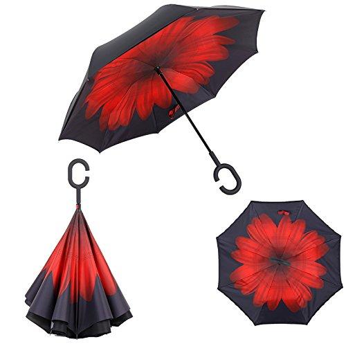 Standme Reverse invertito ombrello pioggia donne uomini doppio strato di retromarcia ombrello c-hook mani self stand inside out pioggia copertura auto con un ombrello, Red