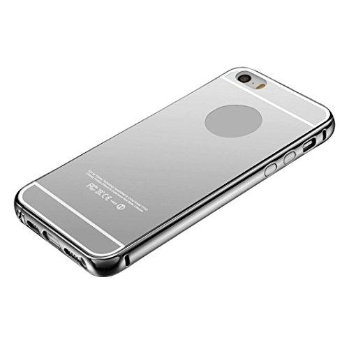 Preisvergleich Produktbild Saingace® Aluminium ultra-dünnen Spiegel-Metall Hülle für IPhone5 / 5S / SE Case Cover (Silber)