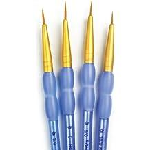 Royal & Langnickel Golden Taklon - Juego de pinceles para detalles (material sintético), color dorado y azul