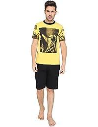Nightwear For Men - Night Suit - Tshirt & Shorts Combo Set - Sinker Material - Yellow Color - Half Sleeves - Branded... - B078Y3LYW8