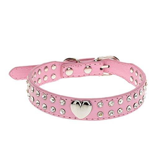 Ularma Cristal Bling Collar del animal doméstico, cachorro y collar de gato (2XS, rosa)