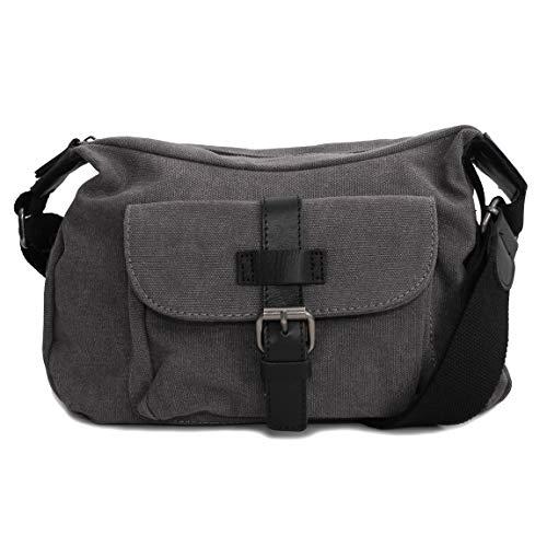 Canvas Jeans Tasche von Harolds - kleinere Damentasche, Shopper, Umhängetasche, Vintage Handtasche, Schultertasche - Baumwollstoff Segelstoff (Grau) - präsentiert von ZMOKA®